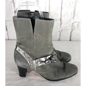 Beverly Feldman Gray Leather Lion Ankle Boots 7